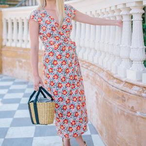 J.Crew Mercantile | Floral Midi Wrap Dress